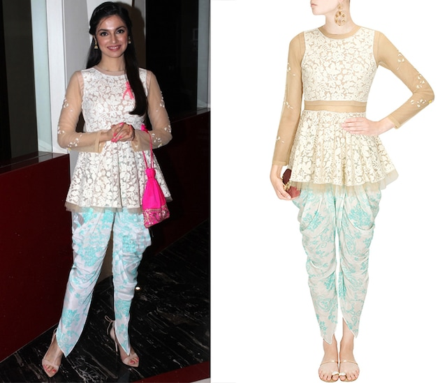 Ivory thread embroidered short peplum kurta with teal printed dhoti pants by The Little Black Bow