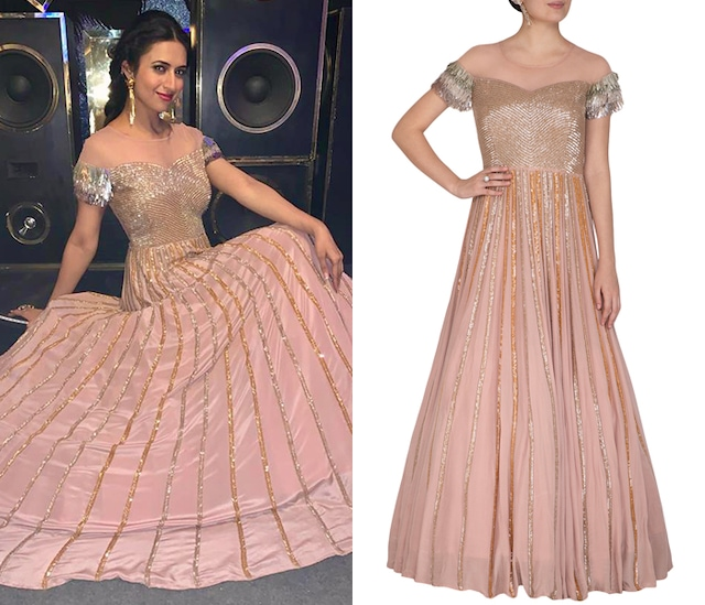 Dusty Rose Pink Embroidered Gown by Aashna Behl