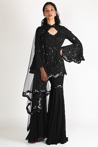 Black Thread Work Gharara Set by Diksha Tandon