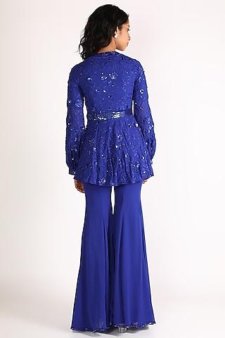 Cobalt Blue Embroidered Sharara Set by Diksha Tandon
