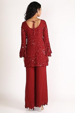 Red Embroidered Sharara Set by Diksha Tandon