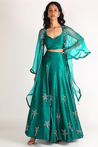 Turquoise Floral Embroidered Lehenga Set by Diksha Tandon
