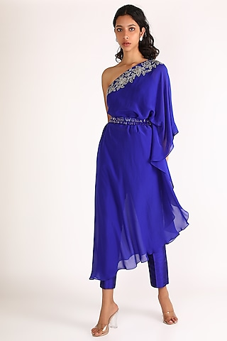 Cobalt Blue Embroidered Tunic Set by Diksha Tandon