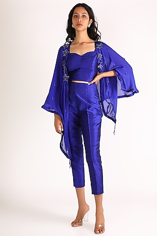 Cobalt Blue Embroidered Cape Set by Diksha Tandon