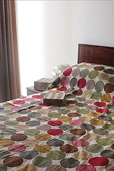 Multicolor Polka Dots Hand Embroidered Bedcover by Karmadori