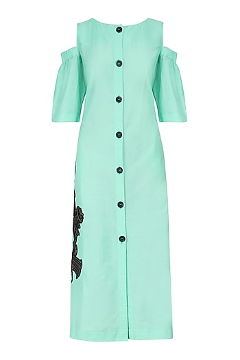 Mint Cold Shoulder Shirt Dress by Dhruv Kapoor