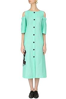 Mint Cold Shoulder Shirt Dress by Dhruv Kapoor