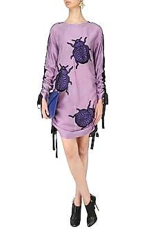 Lavender Bugs Motifs Pull Up Dress by Dhruv Kapoor