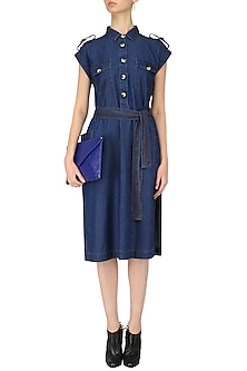 Blue Denim Shirt Dress by Dhruv Kapoor