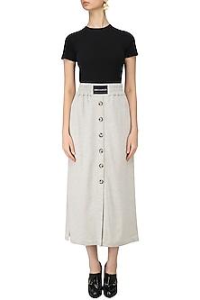 Grey Melange Straight Fit Skirt by Dhruv Kapoor