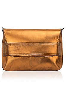 Orange metallic sling bag by Dhruv Kapoor
