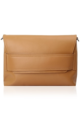 Tan leather sling bag by Dhruv Kapoor
