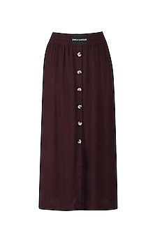 Wine Straight Fit Skirt by Dhruv Kapoor
