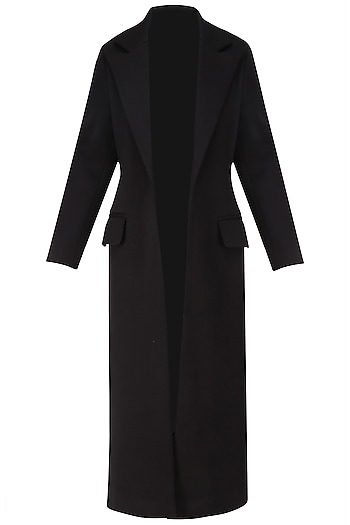 Black Bonded Floor Coat by Dhruv Kapoor