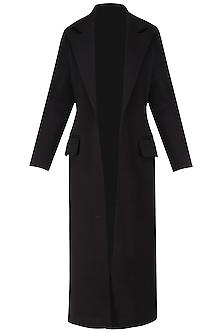 Black Bonded Floor Coat by Dhruv Kapoor