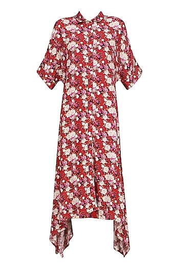 Red Floral Printed Asymmetric Dress by Dhruv Kapoor