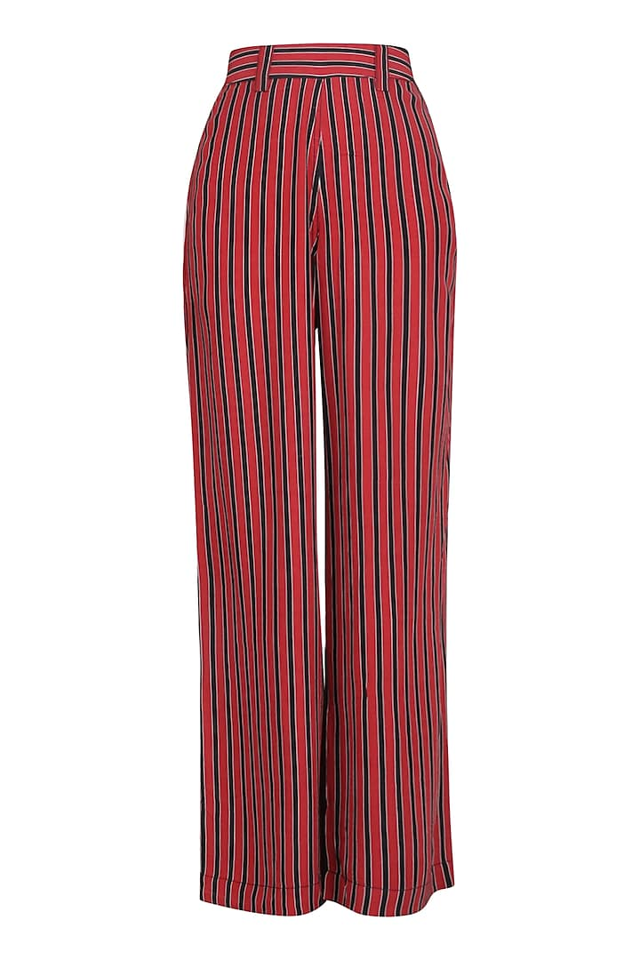 Red and Black Striped Wide Leg Pants by Dhruv Kapoor