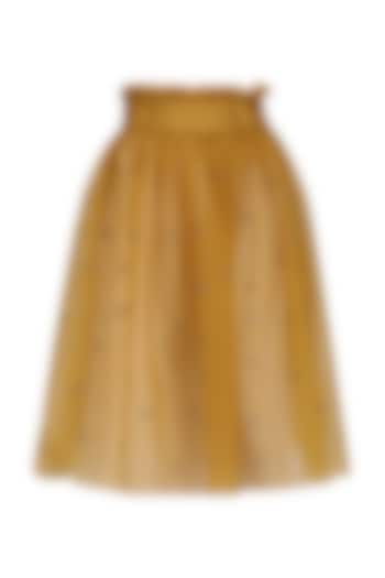 Mustared Gathered Mesh Skirt by Dhruv Kapoor