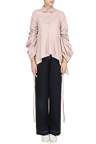 Blush Pink Clicnched Shirt by Dhruv Kapoor