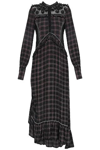Black Check Ruffled Dress by Dhruv Kapoor