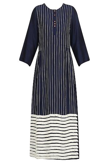 Navy Blue Striped Fringe Dress by Dhruv Kapoor