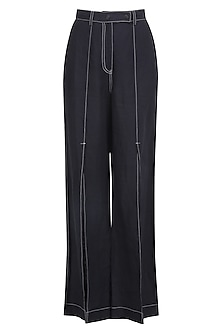 Navy Blue High Waist Pants by Dhruv Kapoor