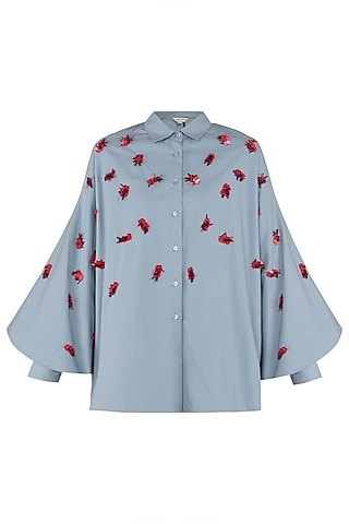 Dusty Blue Batwing Shirt by Dhruv Kapoor