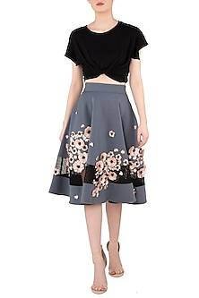 Dusty Blue Skater Skirt by Dhruv Kapoor