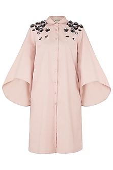 Blush Pink Embroidered Shoulder Shirt Dress by Dhruv Kapoor