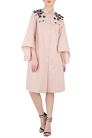 Blush Pink Embroidered Shoulder Shirt Dress by Dhruv Kapoor