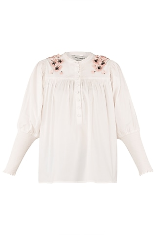 White Embroidered Gathered Shirt by Dhruv Kapoor