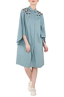 Dusty Blue Embroidered Shirt Dress by Dhruv Kapoor