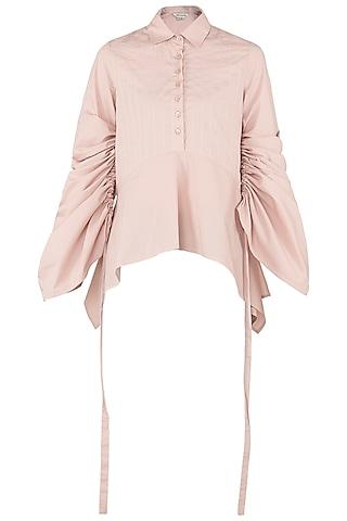 Blush Pink Asymmetrical Shirt by Dhruv Kapoor