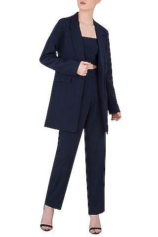 Navy Blue Blazer with Tube Top and Trousers by Dhruv Kapoor
