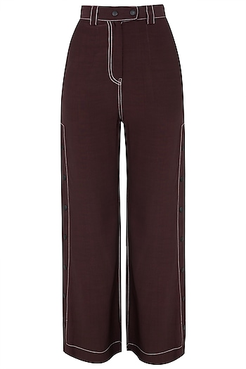 Wine Wide Legged Side Snap Button Pants by Dhruv Kapoor