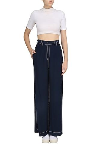 Navy Blue Side Slit Linen Pants by Dhruv Kapoor