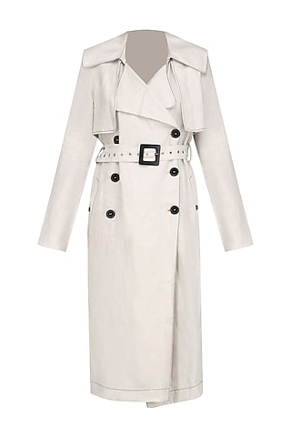 Bone Color Trench Coat by Dhruv Kapoor