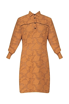 Orange Padded Shirt Dress by Dhruv Kapoor