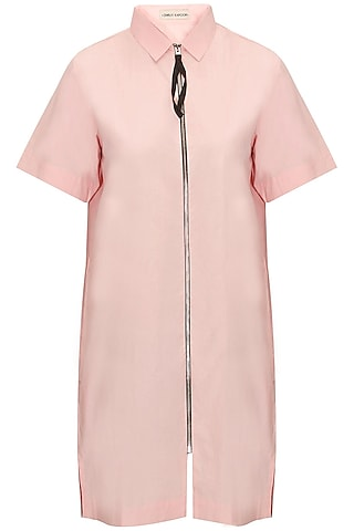 Pink Zip Up Long Shirt by Dhruv Kapoor
