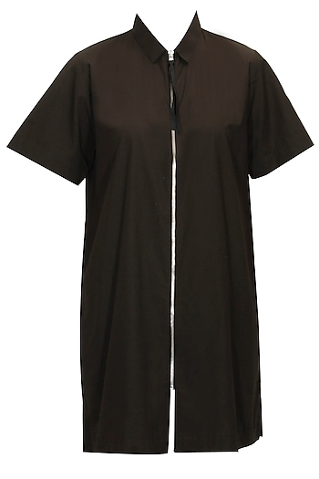 Black Zip Up Long Shirt by Dhruv Kapoor