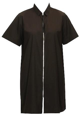 Black Zip Up Long Shirt by Dhruv Kapoor