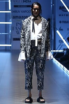 Black and white jacquard trousers by Dhruv Kapoor