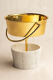 Golden Brass & Marble Balti Vase by Ikkis