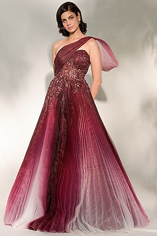 Burgundy Embroidered & Pleated Gown by Dolly J