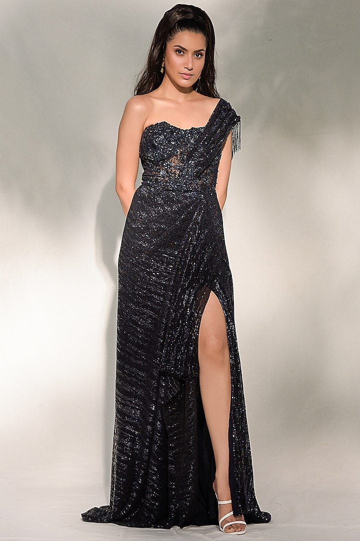 Midnight Blue Draped Saree Gown by Dolly J