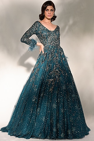 Teal Green Embroidered Gown by Dolly J