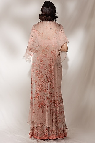 Peach Embroidered Sharara Set by Dolly J