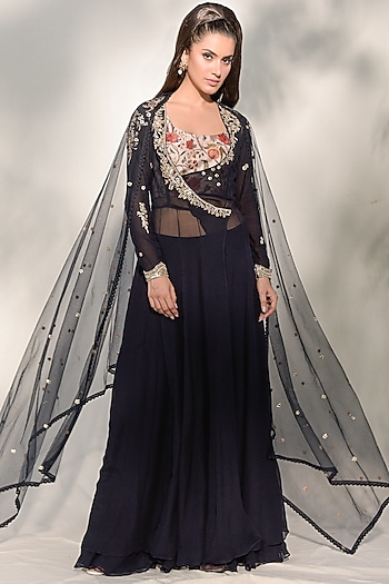 Navy Blue Embroidered Sharara Set by Dolly J