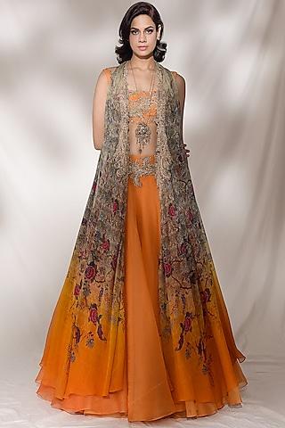 Orange Embroidered Lehenga Set by Dolly J