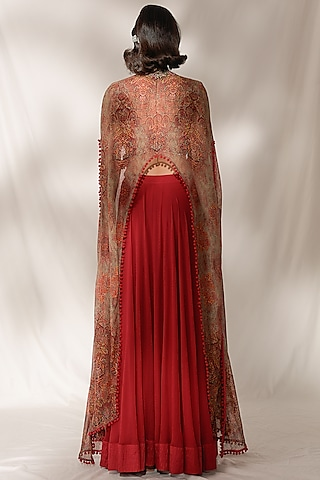Plum Red Embroidered Sharara Set by Dolly J